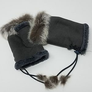 Accessories - Faux Fur Fingerless Gloves Gray